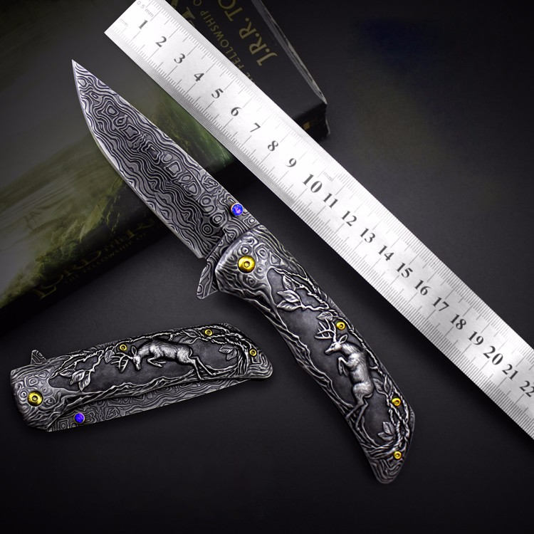 JUFULE Original design Deer Damascus pattern folding kitchen camp hunt pocket Survival EDC tools Tactical outdoor flipper knife outlife new style professional military tactical multifunction shovel outdoor camping survival folding spade tool equipment