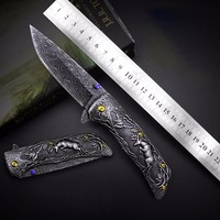 JUFULE Original design Deer Damascus pattern folding kitchen camp hunt pocket Survival EDC tools Tactical outdoor flipper knife