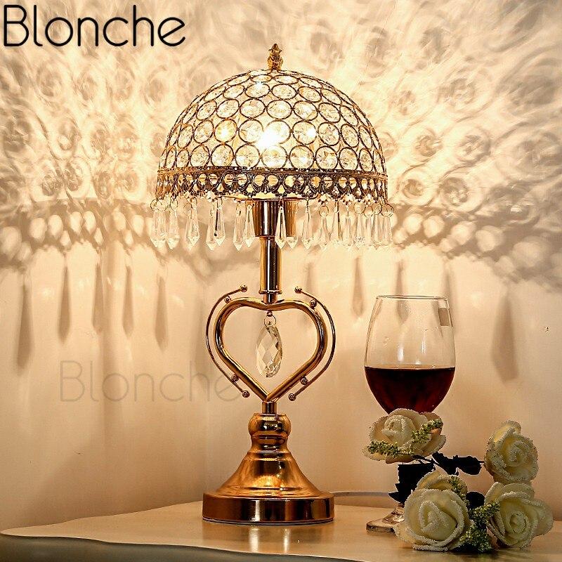 Скандинавские Современные хрустальные настольные лампы, светодиодные настольные лампы для гостиной, спальни, домашнего декора, железные п...
