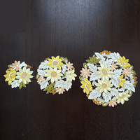 3PCS/set countryside embroidered circle cabinet floral Table Decoration Accessories Placemat Coffee table mat Pads M565