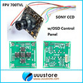 """FPV 700TVL Linhas 1/3 """"Sony Super HAD II CCD Placa Mini Câmera RC + Painel de Controle OSD WDR + 3.6mm lens Para RC FPV f450 quadcopter"""