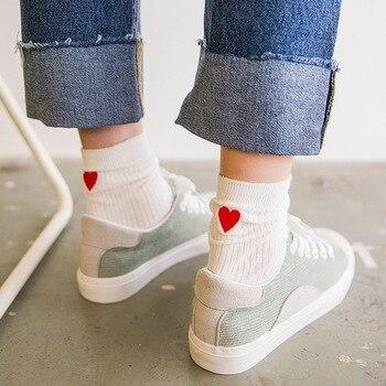 Hot Sale Spring Summer Red Heart Love Women Cotton Socks Cute Heart Harajuku Socks Colors Girls Summer Female Sock  2018 Women Socks