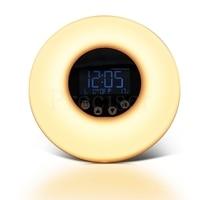 Digital Alarm Clock FM Radio Sunrise Sunset Simulation Luminous Desktop Clock 7 Colors Night Light Touch Control Snooze Clocks