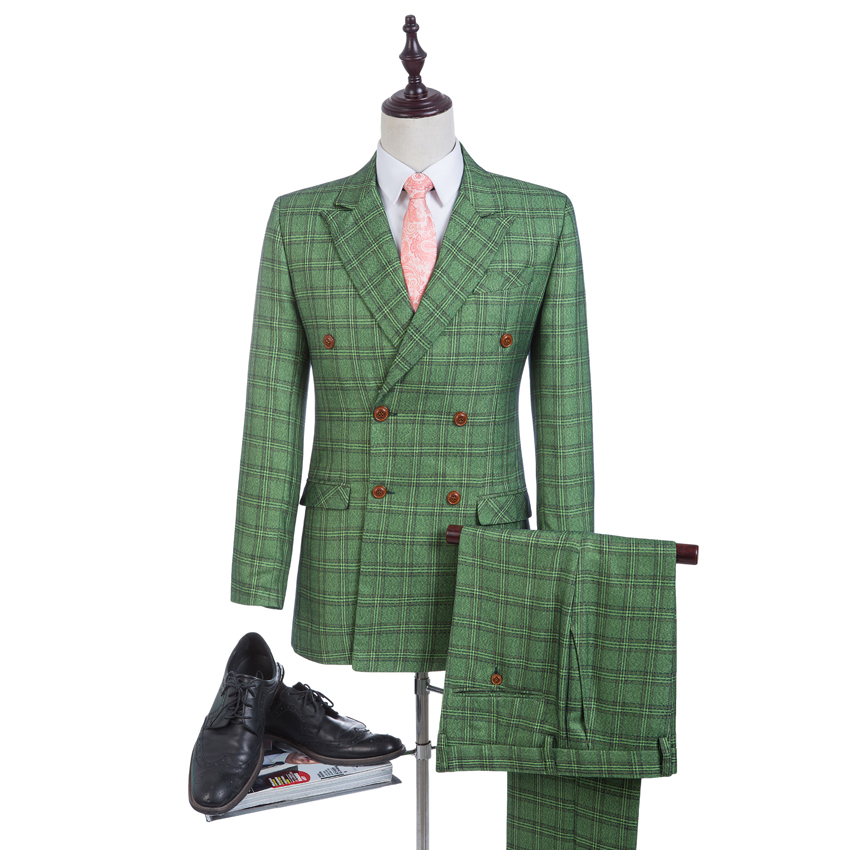 New Design Green Glen Plaid Groom Tuxedos Tweed Suits