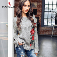 SUNJINACRO 2018 Autumn And Winter Rose Embroidered Thickening Long Sleeve Pullover Sweaters Womens Sweaters And Pullovers