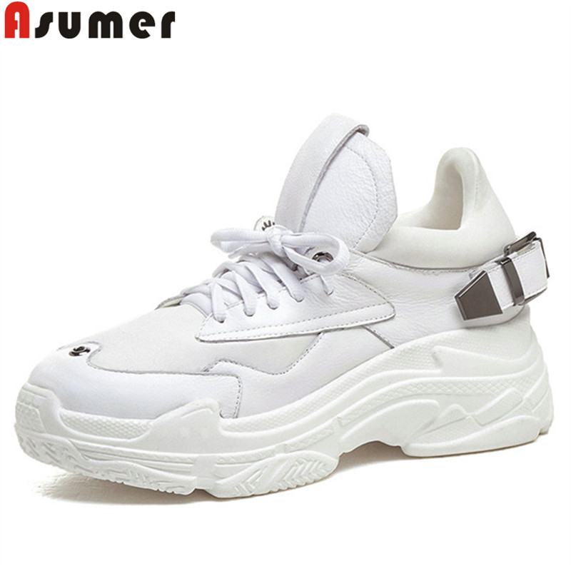 ASUMER 2019 fashion new flats shoes women casual sneakers women genuine leather round toe lace up flat platform female shoesASUMER 2019 fashion new flats shoes women casual sneakers women genuine leather round toe lace up flat platform female shoes