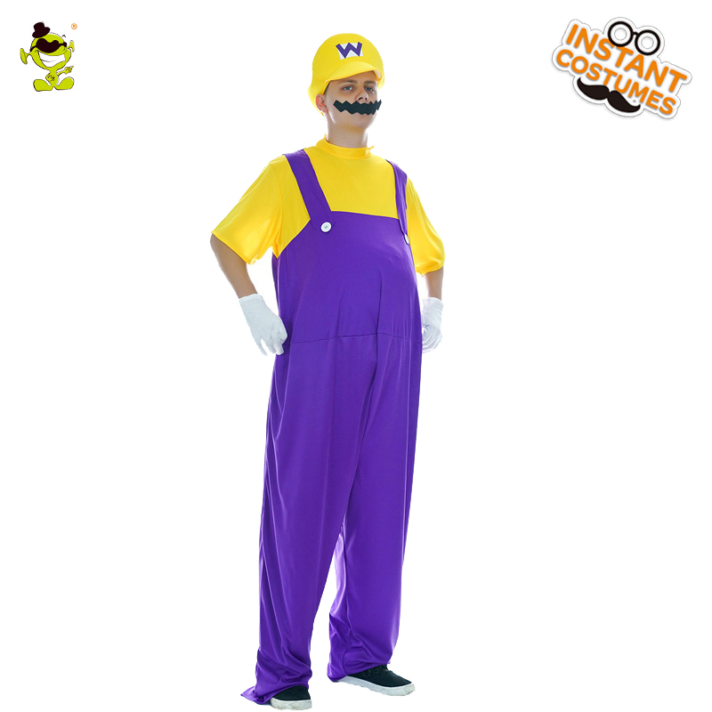 Adult Men's Mariio Brother Costume Christmas Party Masquerade Super Wario Funny Fancy Dress Up Christmas Party Costumes