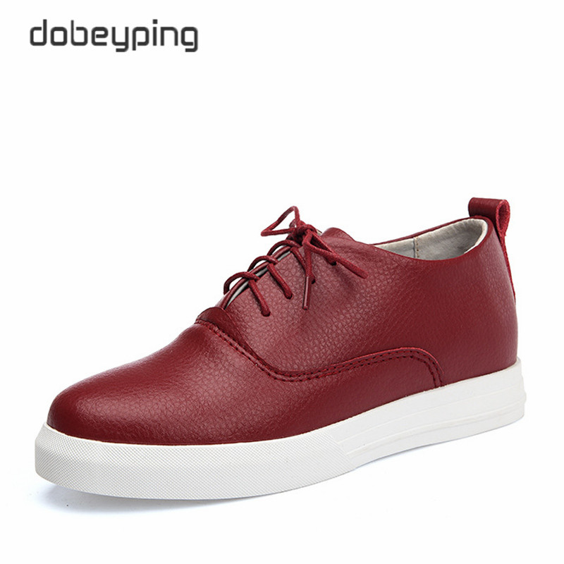 High Quality Cow Leather Women's Casual Shoes Fashion Lace-Up Female Flats Shoe Solid Woman Hidden Heel Shoes In White Black Red bimuduiyu trend casual shoes for men fashion light breathable lace up male shoes high quality suede leather black flats shoes