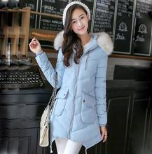 2016 winter wadded jacket female medium-long detachable fur collar slim down cotton-padded jacket dy0023