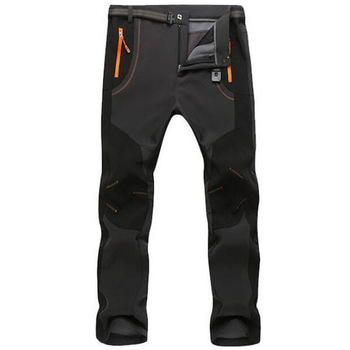 Autumn Winter Thick Fleece Pants Men Outdoor Warm Waterproof Windproof Breathable Soft Shell Trousers Sports Hiking Cargo Pants 1