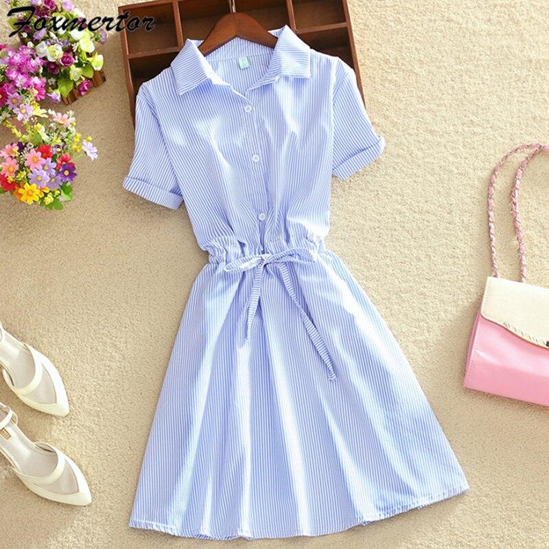 2018 Sommer Frauen Kleid Büro Kleid Shirt Elegante Blaue Stripped Tunika Drehen Unten Kragen Mini Kleid Kurzarm Tragen Zu Arbeit E18 Duftendes (In) Aroma