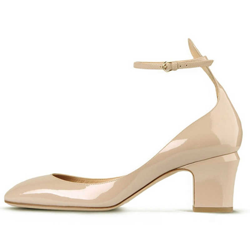c20051e338419 Cork High Chunky Heels Pumps Women Black Nude Red Ladies Casual Shoes  Spring 2019 Ankle Strappy Party Office Round Toe Size 15