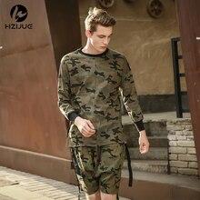 HZIJUE 2017 hiphop justin bieber kleidung straße tragen kpop städtischen kleidung männer langarm longline t-shirt swag kleiden camouflage