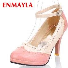 ENMAYER Black Pink New Arrival Rome Ankle Straps High Heel Shoes Sexy Ladies Spring Stiletto Fashion Women Platform Pumps