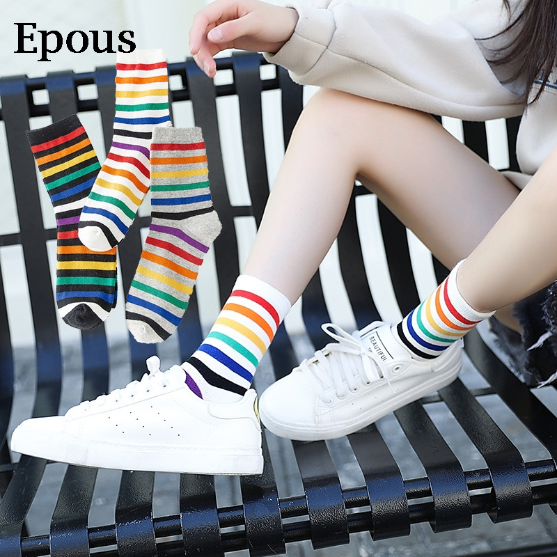 Epous Ulzzing New Rainbow Striped Patterned Funny Short   Socks   Women Cool Cotton Harajuku   Socks   Female Fashion Colored Happy   Sock