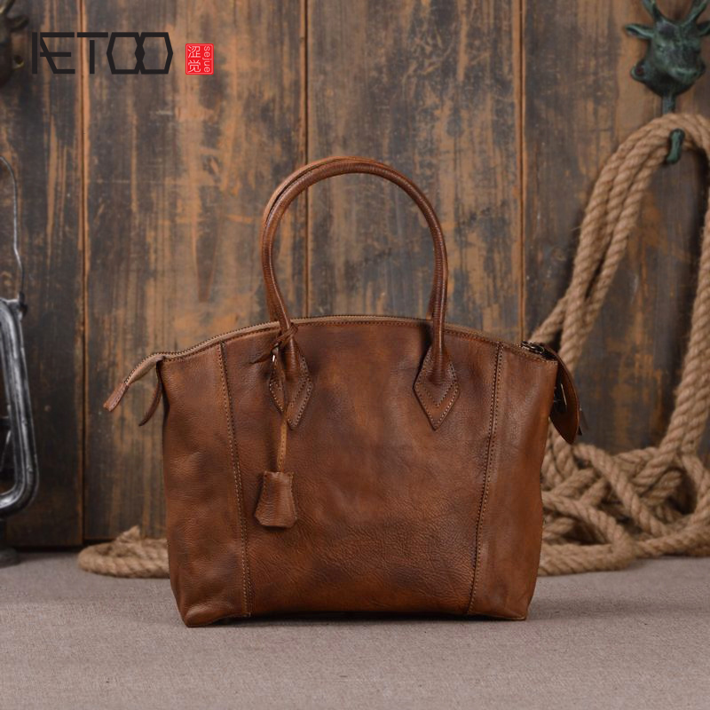 AETOO The first layer of cakes leather ladies handbag hand rubbing shoulder bag fashion Messenger bag famous brand top leather handbag bag 2018 new big bag shoulder messenger bag the first layer of leather hand bag