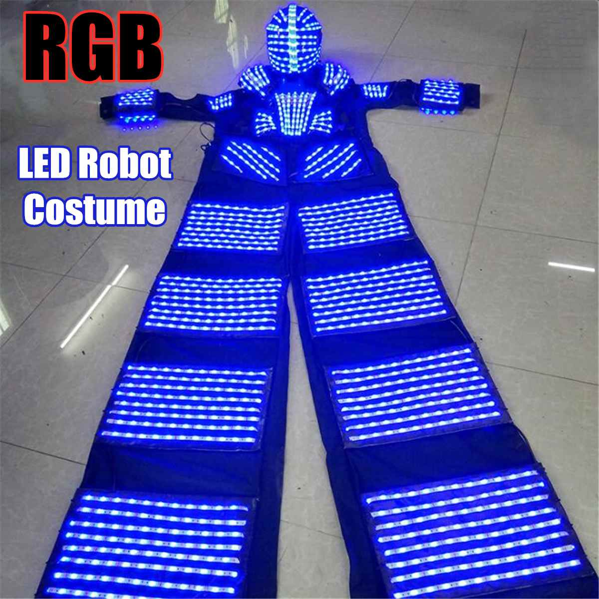 110-240v RGB LED Lights Costumes LED Dancing Costume LED Robot Suit For Party Performance Electronic Music Festival~ DJ Show