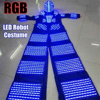 110 240v RGB LED Lights Costumes LED Dancing Costume LED Robot Suit For Party Performance Electronic Music Festival~ DJ Show