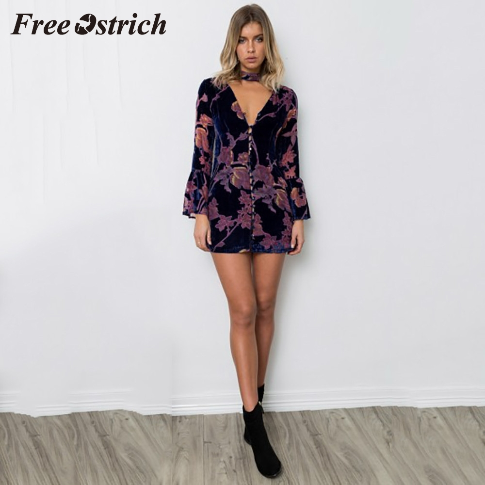 Free Ostrich 2020 Womens Floral Printed Dress Ladies Button Mini Dress Daily Wearing Floral Design Flare Sleeve Autumn Dress