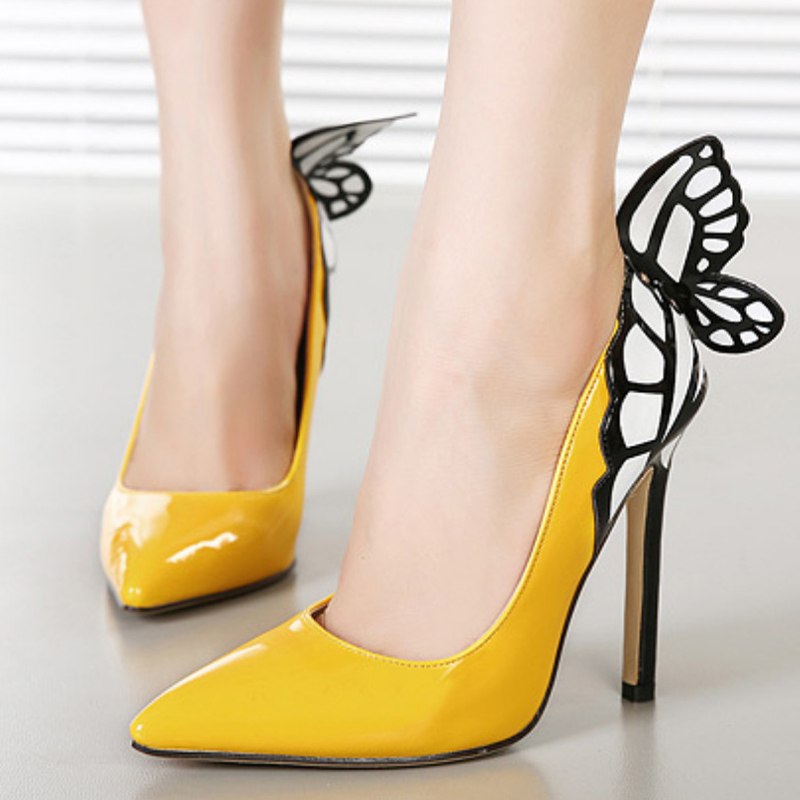 New fashion butterfly thin high heels pumps women sexy pointed toe ladies party wedding shoes plus size black yellow woman shoes plus size 34 48 genuine leather high quality sexy women pumps pointed toe shoes thin high heels wedding shoes party dress shoes