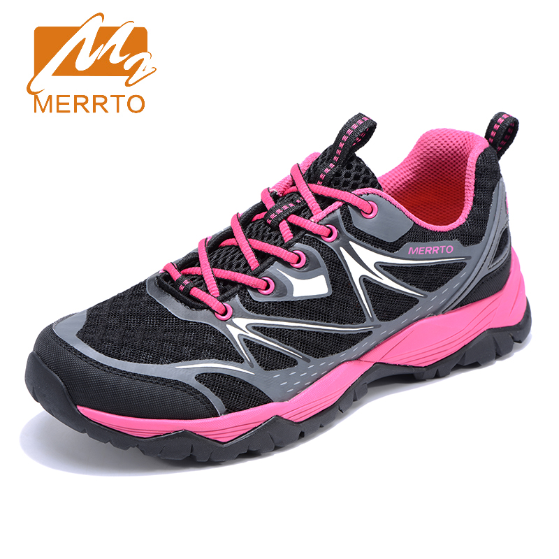 2018 Merrto Womens Breathable Mesh Walking Shoes Outdoor Sports Shoes Travel Shoes For Women Grey Black Free Shipping MT18662 2018 merrto mens walking shoes breathable outdoor sports shoes for men color brown grey red khaki blue free shipping mt18623
