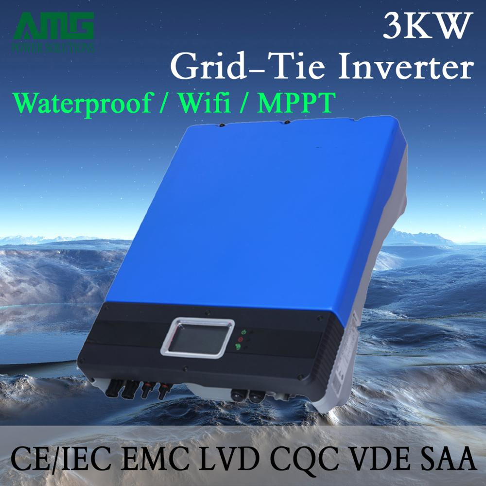 Solar Power On Grid 3000W/3KW Dual Input Single MPPT Waterproof IP65 Grid Tie Inverter Wifi Default Conversion, GPRS optional