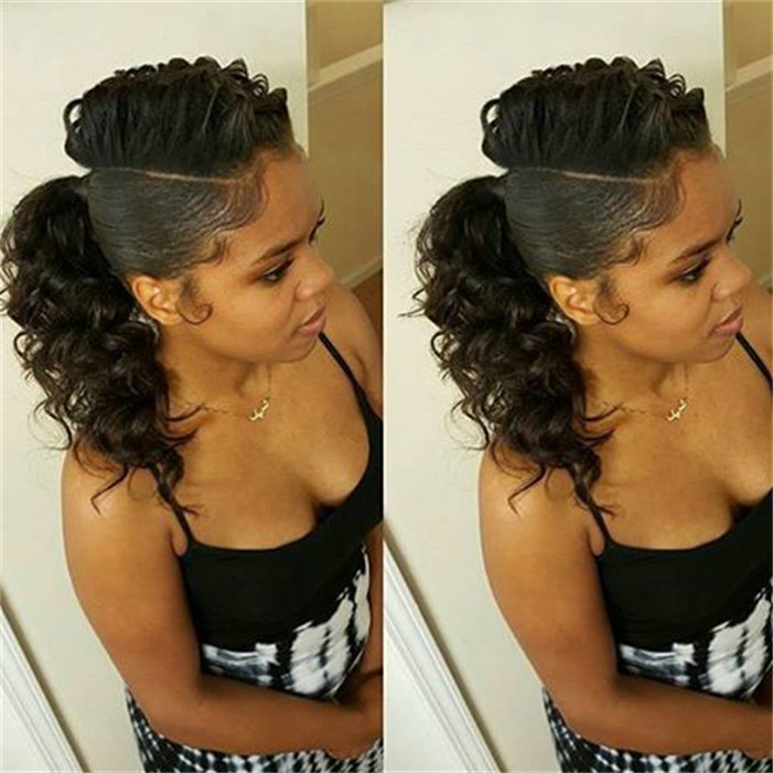 120G 2016 New African American Deep Curly Ponytail Hairpiece Clip In -4755