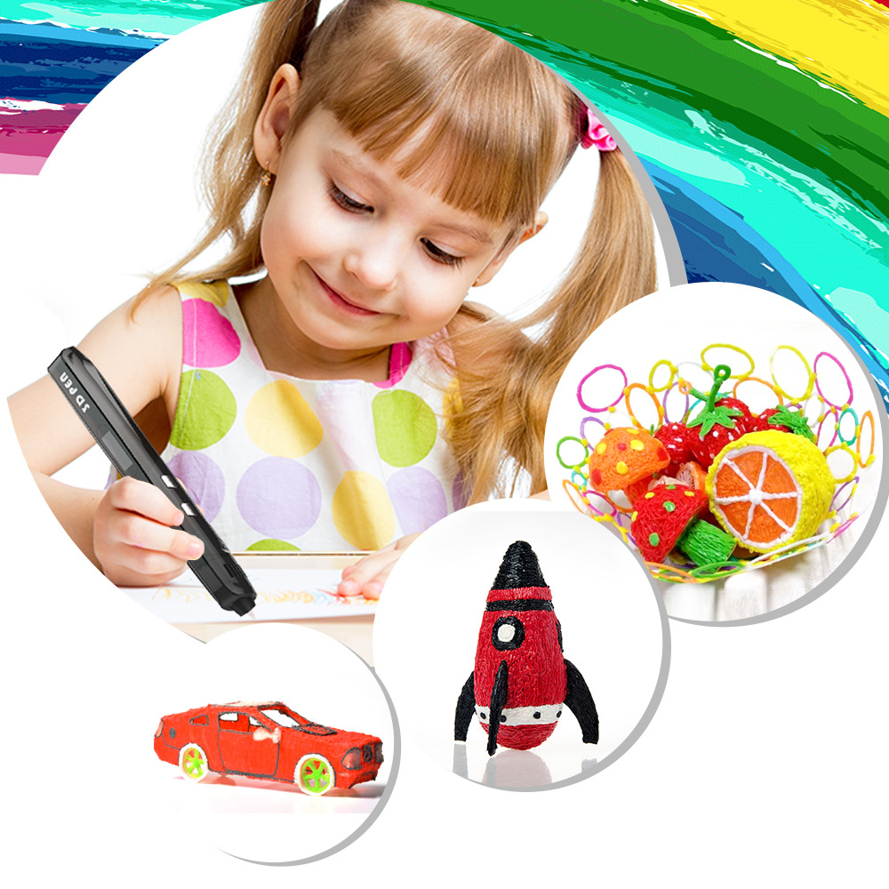 Magic impresora 3d Drawing 3D Pen With ABS filaments DIY Printing  low temperature pens for kids birthday present