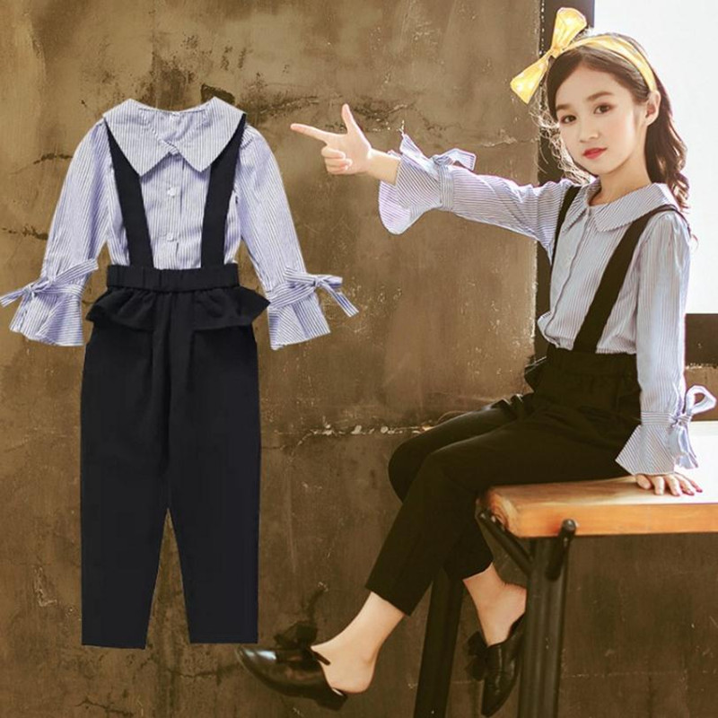 DFXD High Quality Teen Girls Clothing Set New Fashion Girl Cotton Striped Long Flare Sleeve Shirt+Overall 2pc Clothes Suit 3-14Y high cut long sleeve see through striped teddy