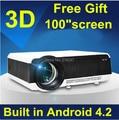 5500 lumens inteligente Android 4.4 lcd tv led proyector full hd accesorios 1920 x 1080 cine en casa 3d projetor vídeo proyector beamer