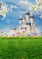 Customize washable wrinkle free castle flower scenic photography backdrops for kids stage photo studio portrait background S 664
