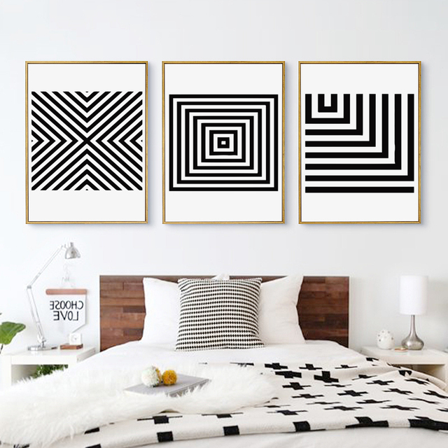 Black and White Abstract Geometric Pattern Canvas Art  1