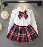Spring Autumn Fashion Boutique Outfits Sets 2 Pcs Kids Girl Long Sleeve Cotton Shirts Bow Tops