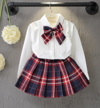 Spring Autumn Fashion Boutique Outfits Sets 2 Pcs Kids Girl Long Sleeve Cotton Shirts Bow Tops+Plaid Tutu Skirts Sets Baby Girls
