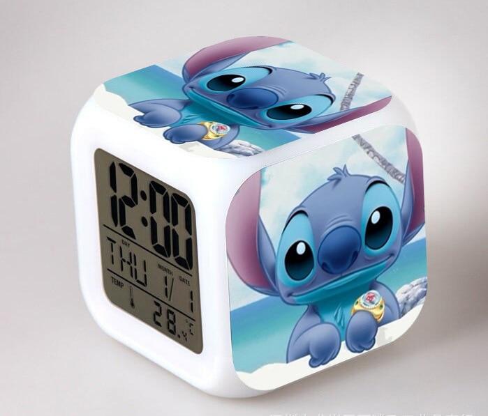 Cartoon Lilo & Stitch LED 7 Color Flash Digital Alarm Clocks Kids Night Light Clock reloj despertador