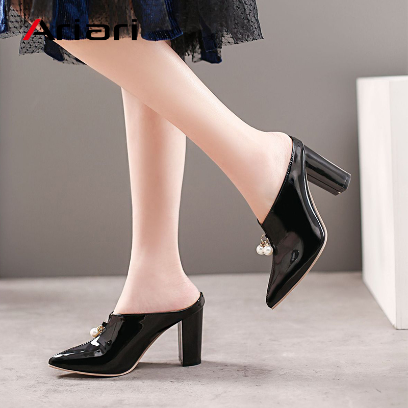 Spring Women PU Leather High Heel Pumps Ladies Mules Wedding Party Shoes Platform Pointed Toe Sandals Slipper Plus Size 34~45 big toe sandal