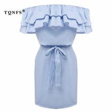 TQNFS пикантные с открытыми плечами полосатые оборками платье Для женщин Элегантный Slash шеи летнее платье Для женщин пояса вечерние мини-платье Vestidos