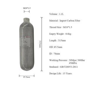 Image 2 - AC3011 druckluft gewehr 1.1L 30Mpa HPA Carbon Faser Tank 4500psi PCP Paintball Zylinder für Jagd Luftgewehr Nachfüllen Acecare