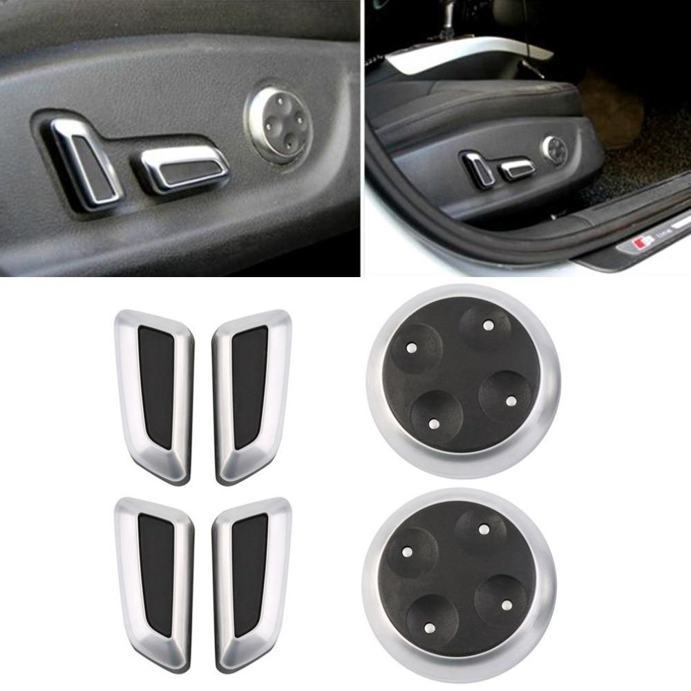 High Quality Newest Seat Adjustable Switch Knob 6pcs Black Matt High Quality Chrome For AUDI Cars Hot Sale Hot