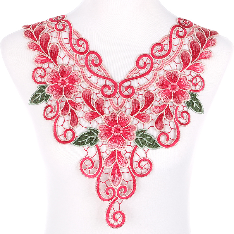 Red Flower Venise Lace Collar Applique Patches Neckline Fabric Embroidered For Accessories Arts Crafts Sewing