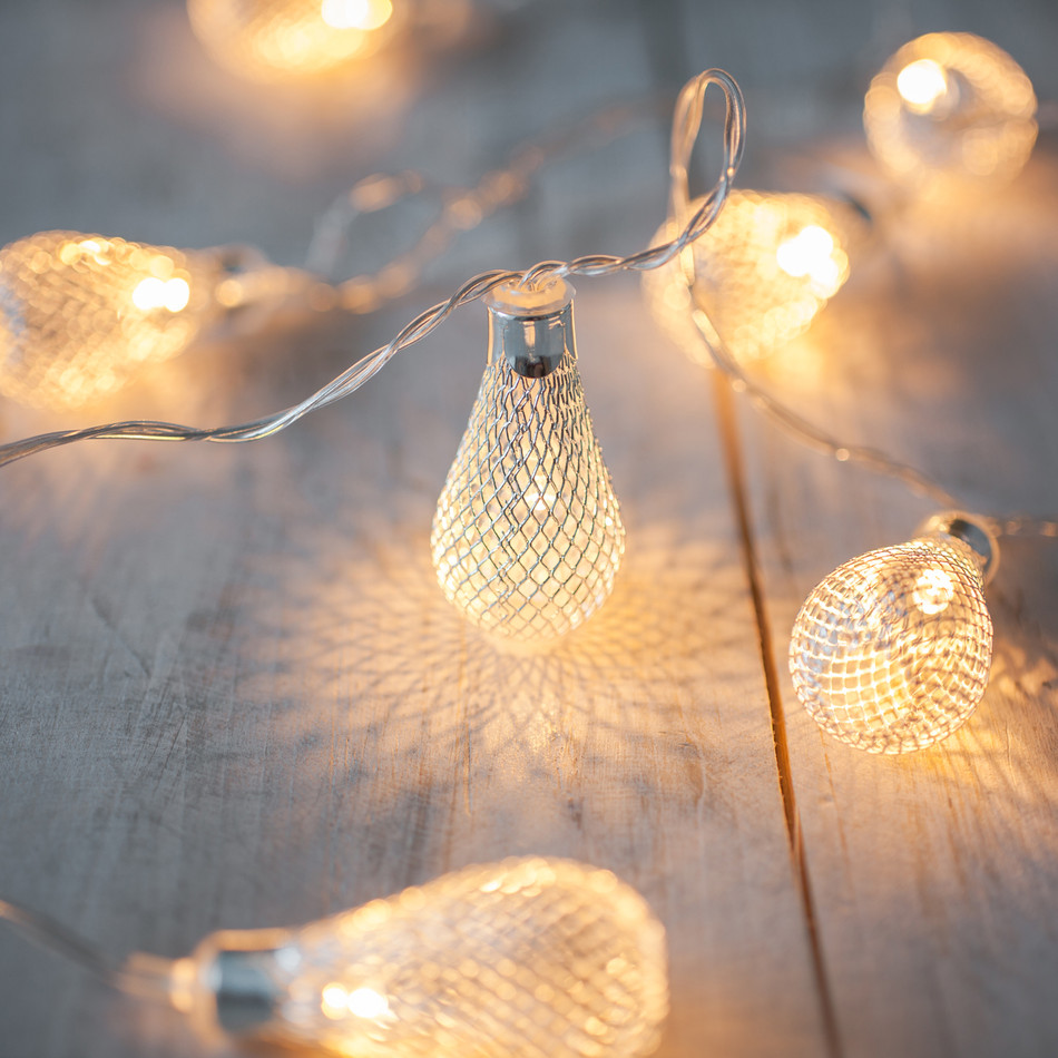3.3M LED Garland 20pcs Metal Drop Fairy String Light With 3AA Battery Operate Lights For Patio Wedding Party Christmas Use