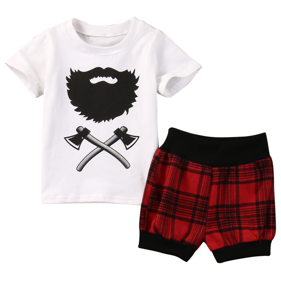 Hot Selling Newborn Baby Boy Clothes Fashion Toddler Kids Axe T-shirt Tops Red Plaid Short Pant 2PCS Outfit Bebek Giyim Clothing