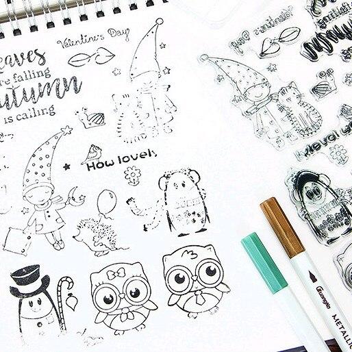 Sellos de silicona con letras de animales y búho de gato, sellos DIY de silicona para álbum de recortes, hacer tarjetas, adornos para álbumes de fotos, suministros de hojas 1 unidad de cinta de papelería de animales de encaje, cinta decorativa para corrección de bolígrafos, diario, álbum de recortes, papelería, regalos, útiles escolares