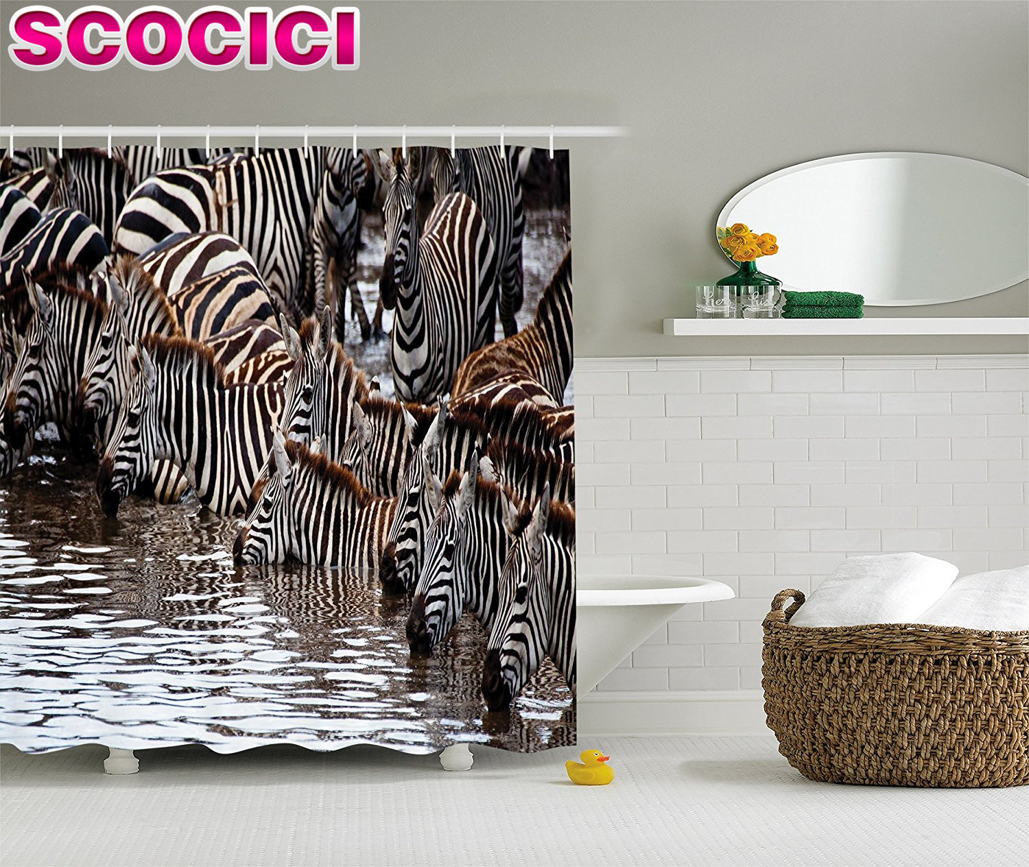 Wildlife Decor Shower Curtain Set Zebras Drinking Water In Tanzania Bathroom Accessories China Mainland
