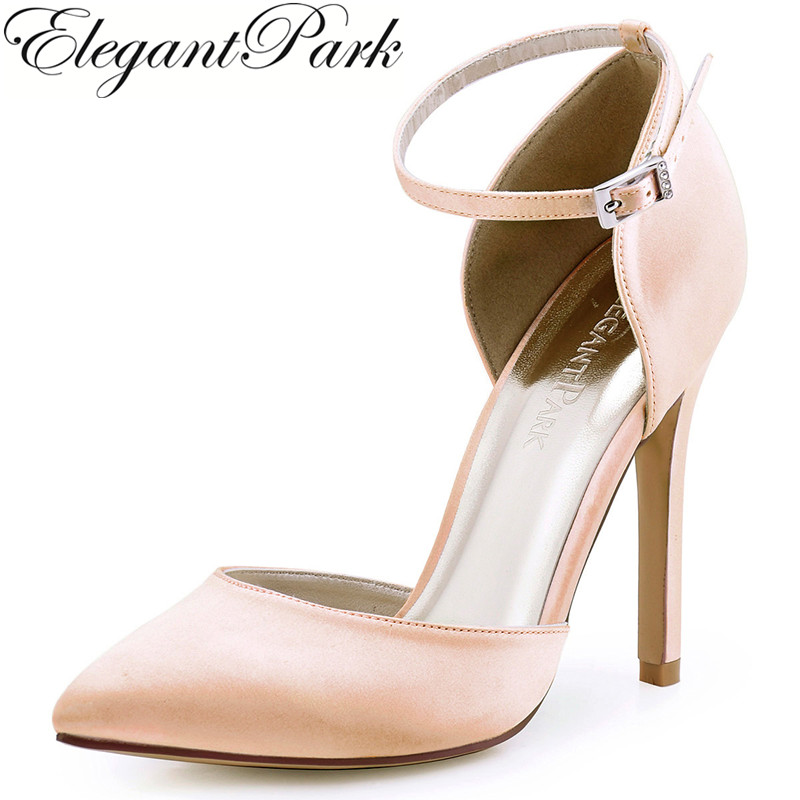 Women High Heel Evening party Pumps Blush Hot pink Pointed Toe Ankle Strap Satin Bridesmaid Wedding Bridal Shoes Burgundy HC1602 2015 temperament high heel women pumps rhinestone ankle strap pointed toe ladies wedding shoes