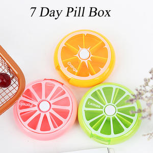 Cases Container Storage-Case Fruit-Shaped Round Vitamin-7 Travel Tablet Day-Weekly-Holder