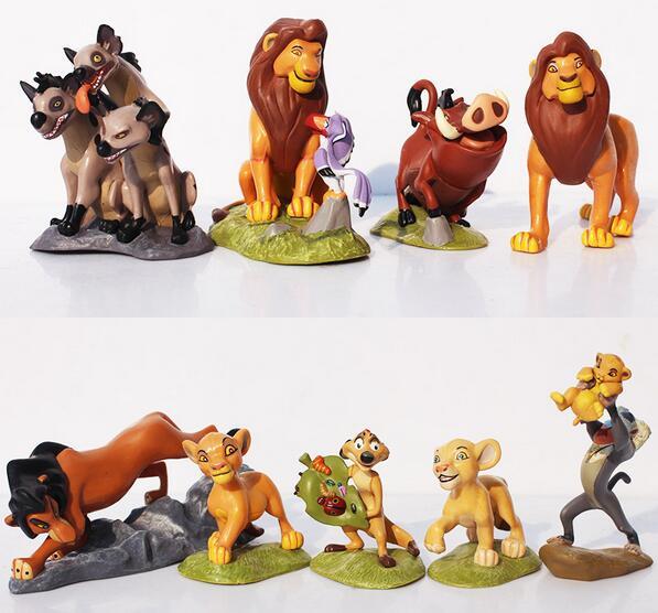 9 Pcs Set The Lion Figurines Plastic Animals Collectibles