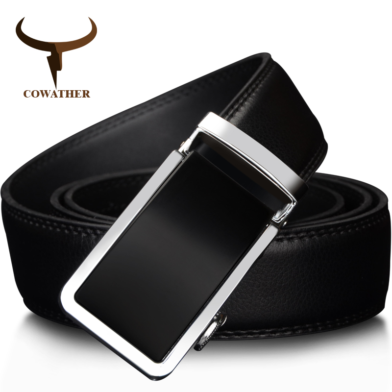 COWATHER 2019 Automatic Buckle Metal Belts for Men Cow Genuine Leather Belt high grade new Fashion style Leather Men Belts