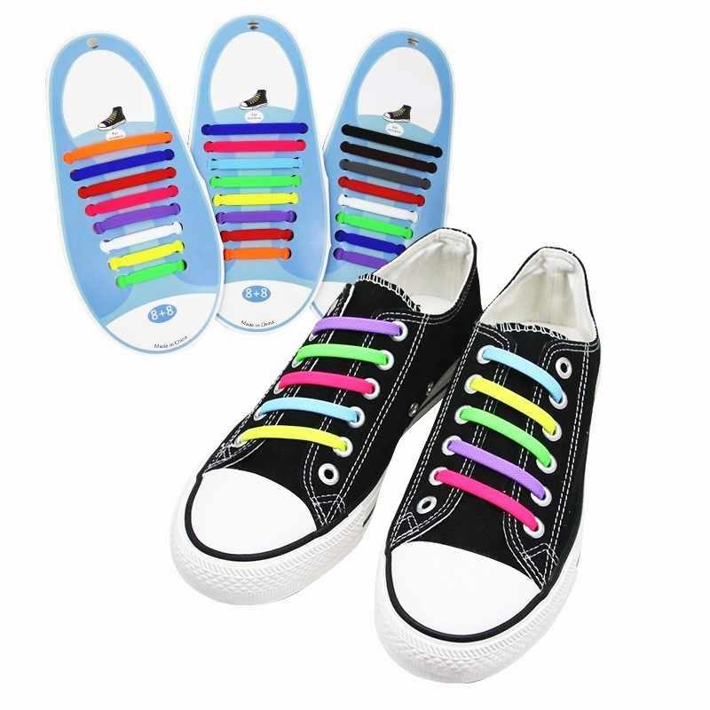 8 คู่/เซ็ตซิลิโคนเด็กผู้ใหญ่ Multifunctional Elastic รองเท้า String No Tie Shoelaces สำหรับเด็กผู้ใหญ่รองเท้า Lacing