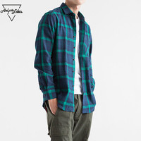 Aelfric Eden Men Shirt Casual Streetwear Flannel Ripped Plaid Shirt Long Sleeve Man Winter Turn Down